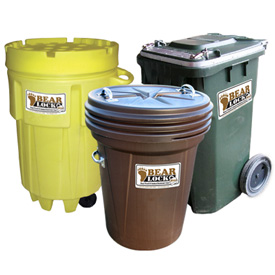 Bear-proof trash containers